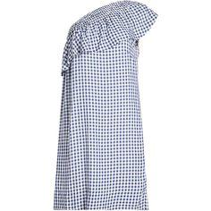 Velvet Gingham Dress (800 BRL) ❤ liked on Polyvore featuring dresses, blue, asymmetrical tops, gingham print dress, velvet dress, blue gingham dress and blue dress