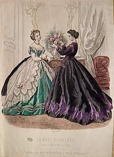 Another horribly sharpened fashion plate, 1865, La Mode Illustree                                                                                                                                                                                 More