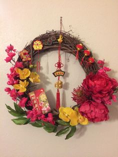 Lucky Feng Shui Wreath #wealth #happiness #goodluck #chinesenewyear #mysticalempress #fengshui Chinese New Year, Grapevine Wreath, Life Is Beautiful, Feng Shui, Grape Vines, Wealth, Mystic, Happiness, Chinese New Years