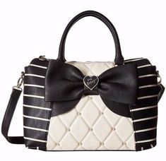 a290c04c34f Betsey Johnson Studded Bow Bag Quilted Striped E/W Winged Satchel Crossbody  #BetseyJohnson #