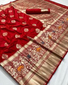 Pure silk weaving Saree To purchase this product mail us at Sambalpuri Saree, Kanjivaram Sarees Silk, Indian Silk Sarees, Kanchipuram Saree, Red Saree, Lehenga, Brocade Saree, Chanderi Suits, Satin Saree