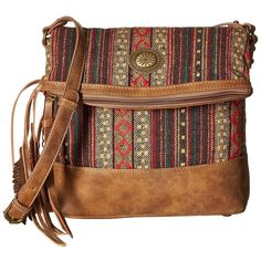 American West Serape Fold-Over Crossbody (Medium Brown/Autumn Leaves)... ($69) ❤ liked on Polyvore featuring bags, handbags, shoulder bags, purses crossbody, brown purse, purse shoulder bag, brown crossbody purse and man bag