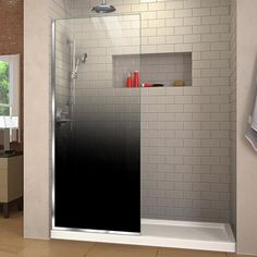 DreamLine Linea Ombre H x to W Frameless Fixed Chrome Shower Door at Lowe's. The DreamLine Linea Ombre is a single panel, walk-in shower screen, with a unique patented bold gradient design, adding sophistication and extravagance to Walk In Shower Screens, Douche Design, Walk In Shower Designs, Small Bathroom, Bathroom Ideas, Master Bathroom, Bath Ideas, Bathroom Designs, Bathroom Remodeling