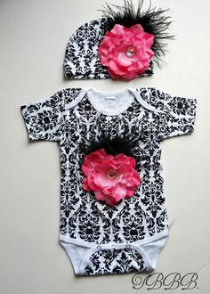 Black and white damask  Onesie and hat Set by TheBabyBellaBoutique, $32.00