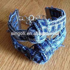 Denim bracelet hippie Yoga Bracelet Fabric Bracelet Jean Bracelet Blue Jean, Boho, Classy Accents, Knot, Shabby Chic