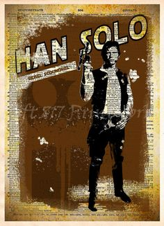 Star Wars, Han Solo, Vintage Silhouette print, Retro Star Wars Art, Dictionary print art