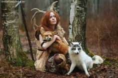 This will be me one day: just sitting in the woods with my fox friends.