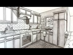 Drawing A Kitchen in Two Point Perspective Perspective Drawing Lessons, One Point Perspective, Perspective Art, Drawing Interior, Interior Design Sketches, Cottage Kitchen Cabinets, Kitchen Drawing, Architecture Concept Drawings, Architecture Design