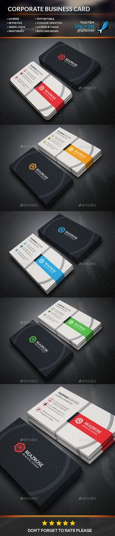 Corporate Business Card Template #design Download: http://graphicriver.net/item/corporate-business-card/12519619?ref=ksioks