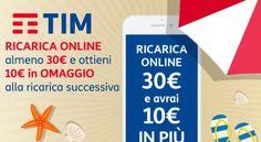 TIM Ricarica online 30€ e ricevi 10€ in regalo alla ricarica successiva. Fino alla mezzanotte del 26 Luglio nuova promo ricarica per avere 10 euro omaggio.