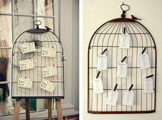 idée plan de table mariage chic avec des cages à oiseaux romantiques