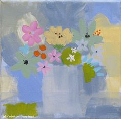 Original painting on stretched canvas Flowers by ColetteCopeland