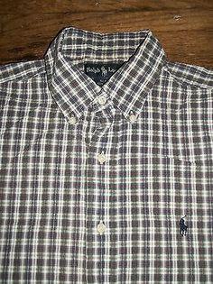 Ralph Lauren Blake Size M Short Sleeve Seersucker With Logo Button-Front Shirt
