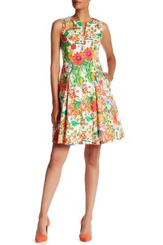 CHETTA B - Printed Fit & Flare Dress at Nordstrom Rack. Free Shipping on orders over $100.