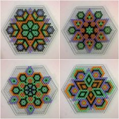 Perler Bead Templates, Pearler Bead Patterns, Perler Patterns, Melted Bead Crafts, Beaded Banners, Mandalas Painting, Psychedelic Pattern, Peler Beads, Iron Beads