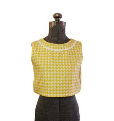 Vintage 1960s 60s Top - Blouse Shell Gingham Printed Ric Rac Small. $15.00, via Etsy.