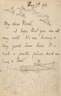 The Morgan Library & Museum Online Exhibitions - Beatrix Potter: The Picture Letters - Letter to Noel Moore, August page 1 Journal Inspiration, Peter Rabbit And Friends, Handwritten Letters, Lost Art, Mail Art, Oeuvre D'art, Childrens Books, Kid Books, Reading Books