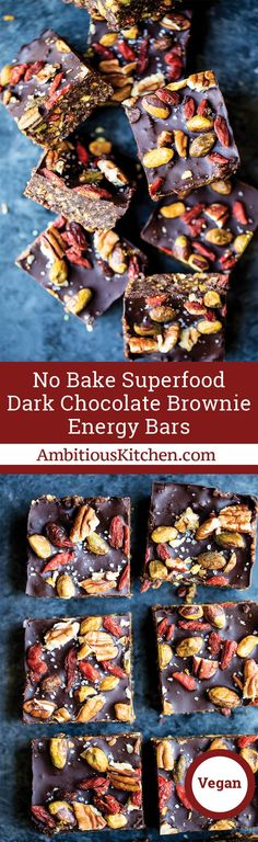 No bake superfood brownie energy bars packed with pistachios, pecans, walnuts, chia seeds, coconut and dried fruit! Topped with dark chocolate and sea salt. The perfect nutritious healthy dessert. #nobakerecipes #vegandesserts #brownierecipes #healthydesserts #glutenfreedesserts