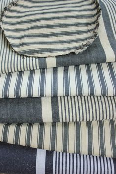 Antique Vintage French BLUE Ticking fabrics