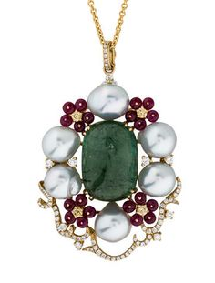 18K yellow gold Tara Pearls rolo chain pendant necklace featuring cultured pearls, rutilated green tourmaline cabochon at center, ruby floral embellishments and filigree detailing with diamonds throughout.