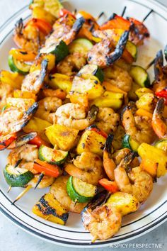 Teriyaki BBQ Shrimp Skewers Recipe - An easy dinner idea you can make on the grill. This light healthy recipe is packed with protein and produce! Bbq Shrimp Skewers, Teriyaki Shrimp, Barbecue Shrimp, Grilled Shrimp Recipes, Seafood Recipes, Bacon, Tempeh, Giada De Laurentiis, Cacciatore