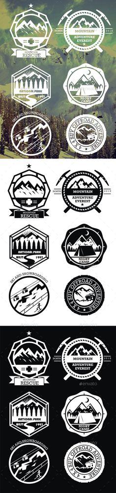 6 Mountain Badges Vector Template #design Download: http://graphicriver.net/item/6-mountain-badges/10688377?ref=ksioks