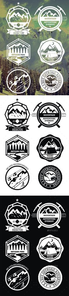 6 Mountain Badges Vector Template #design Download: http://graphicriver.net/item/6-mountain-badges/10688377?ref=ksioks
