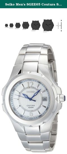 Seiko Men's SGEE65 Coutura Silver-Tone Silver And White Dial Watch. Stylish and classically styled, this Seiko Mens Coutura watch (SGEE65) features a silver/ white two-tone dial that is accented by environmentally safe Lumibrite Hands and markers and Arabic numerals at 6 and 12 o'clock. The silver stainless steel bracelet is composed of a mix of polished and brushed links is joined by a push-button release clasp. Other features include a Cabochon crown, scratch-resistant sapphire crystal...