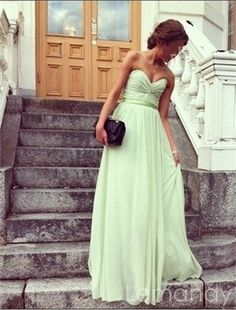 simple sage strapless sweetheat A line chiffon bridesmaid dress. $138.00, via Etsy.