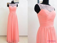 Light Coral Prom Dresses,Chiffon Prom Dress,Lace Prom Gown,Simple Prom Gowns,Elegant Evening Dress,Cheap Evening Gowns,Long Evening Gowns,Sexy Prom Dress PD20184527