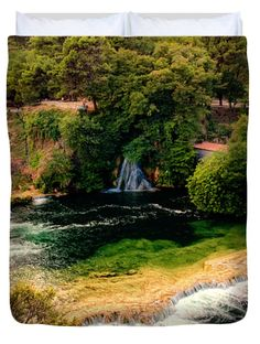 """Waterfalls and Lagoons Queen (88"""" x 88"""") Duvet Cover by Lucie Rovna"""