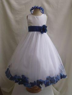 NEW WHITE ROYAL BLUE RECITAL PAGEANT FLOWER GIRL DRESS