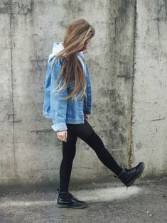 Denim Look #3 Denim Jacket/Vest Plain Shirt Denim Shorts Hose/Leggings Combat Boots Funky Glasses