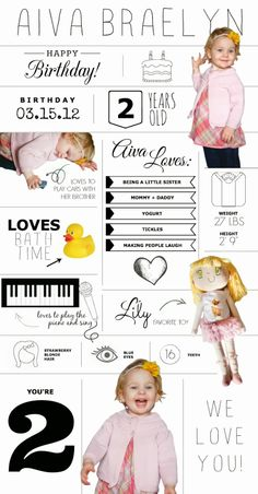 Love and be Loved: AIVA BRAELYN // 2 YEARS OLD - birthday infographic