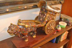 Cloisonne enamel ox cart