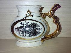 Karlovy Vary Trink Kanne aus Karlsbad Porzellan CSSR JOME Glanzgold H:11,5 cm **