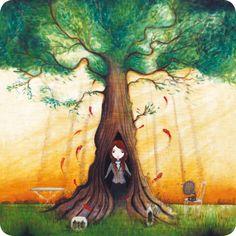 """Jehanne Weyman carte postale carrée (14 cm) """"L'arbre creux"""""""