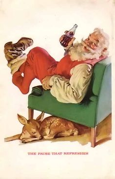 Coca-Cola Company ran this paper advertisement that came from a 1958 magazine and features the popular drink - Coke. Here we see Santa kicking off his boots enjoying a Coca-cola sitting on a green sofa chair with one of his wonderful reindeer resting next to him.