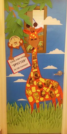"""Jungle / Classroom Door: Giraffe's spots are children's pics printed on yellow paper in sepia tone. is a Dollar Tree paper plate with construction paper arms added to hold sign saying, """"Look Who Was """"SPOTTED"""" in the Jungle! Jungle Classroom Door, Jungle Door, Classroom Themes, Classroom Displays, Jungle Bulletin Boards, Classroom Door Signs, Class Decoration, School Decorations, School Themes"""