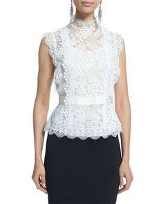 Sleeveless Lace Blouse, Ivory by Oscar de la Renta at Neiman Marcus.