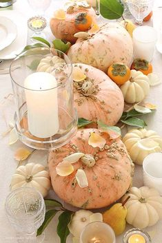 A Unique Thanksgiving Table That You'll Love How Easy it is to Create - Happy Happy Nester - A pretty Thanksgiving Table with pink and cream colored pumpkins. Make sure to decorate your table - Thanksgiving Table Settings, Thanksgiving Tablescapes, Thanksgiving Crafts, Thanksgiving Decorations, Table Decorations, Holiday Decor, Fresco, Do It Yourself Decoration, Fall Table