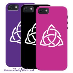 Triquetra iphone cases in assorted colours by Cheeky Witch® Click on the pic to see more! www.cheekywitchtees.co.uk #iphone #phonecase #triquetra #witch #wicca #pagan #charmed