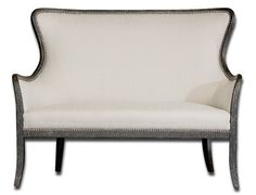 White Loveseat Settee with Nailhead Accent