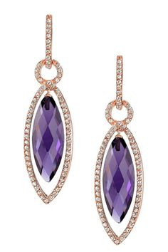Radiance Pearl 14K Rose Gold Plated Purple Amethyst & CZ Marquise Drop Earrings