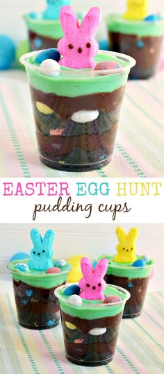 Easter Egg Hunt Pudding Cups with PEEPS