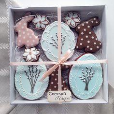 Купить Набор пряников Пасхальный - голубой, подарок, новые работы, имбирные пряники, имбирное печенье