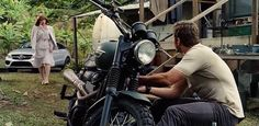 Triumph motorcycle in Jurassic World (2015, Universal, screen capture)