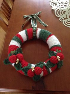 Crocheted Christmas wreath gorgeous hanging wreath by MadebyLeanne, $35.00