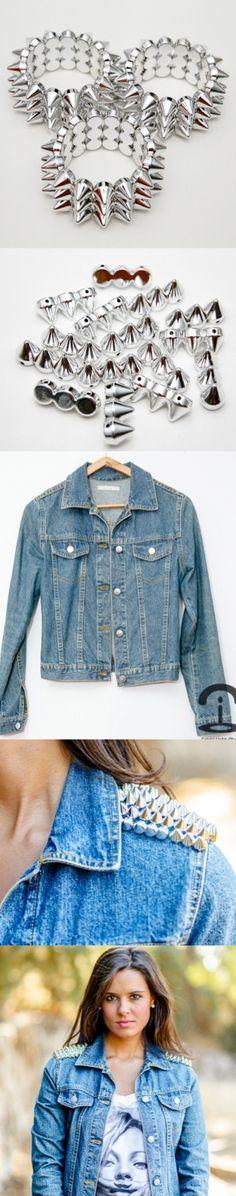 DIY Crimenes de la moda - Chaqueta vaquera con pinchos - spiked denim jacket