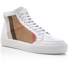 Burberry Salmond Platform High Top Sneakers ($450) ❤ liked on Polyvore featuring shoes, sneakers, optic white, high top shoes, white sneakers, platform shoes, high top sneakers and hi tops